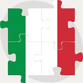 Italy Flag in puzzle