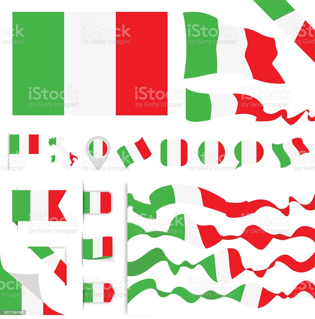Italy Flag Set vector art illustration
