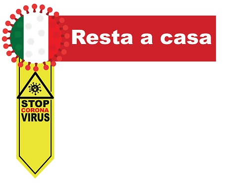 Italy flag symbol and call to stay at home. covid-19 corona epidemic. banner, graphics, vector