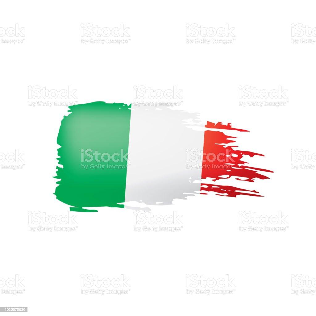 Italya Bayrağı Beyaz Bir Arka Plan üzerinde Vektör çizim Stok Vektör