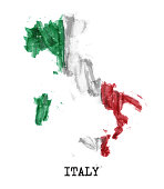 Italy flag watercolor painting design . Country map shape . Sports team and Republic day concept ( 2 June ) . Vector .