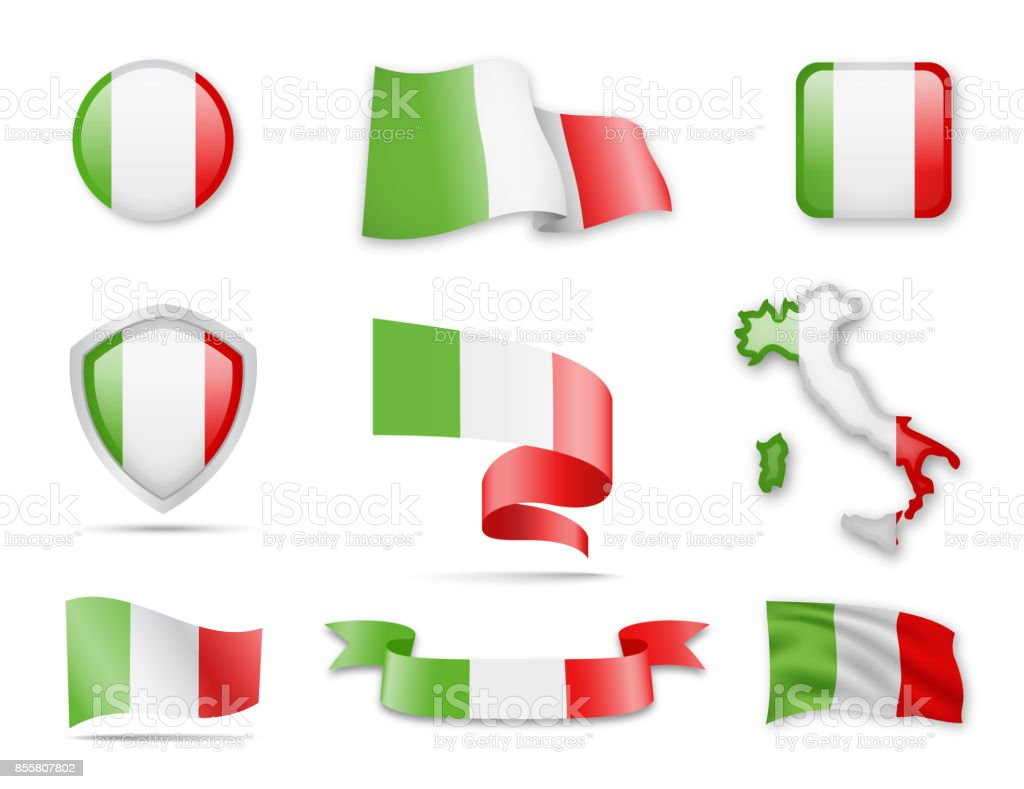 Italy Flags Collection vector art illustration