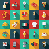 A set of flat design styled Italian icons with a long side shadow. Color swatches are global so it's easy to edit and change the colors. File is built in the CMYK color space for optimal printing.
