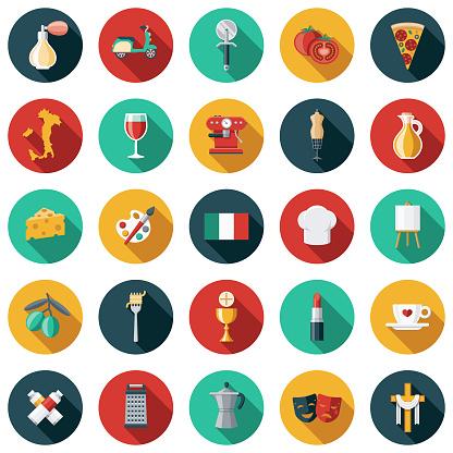 Italy Flat Design Icon Set