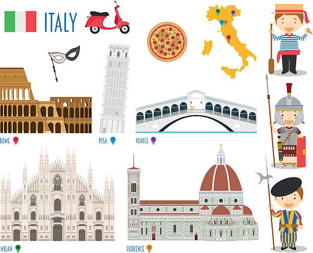 illustrazioni stock, clip art, cartoni animati e icone di tendenza di italy flat icon set travel and tourism concept. vector illustration - milan fiorentina