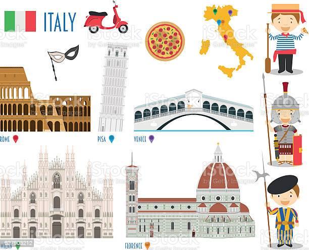 Italy Flat Icon Set Travel And Tourism Concept Vector Illustration - Immagini vettoriali stock e altre immagini di Appartamento