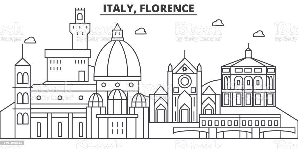 Italy, Florence architecture line skyline illustration. Linear vector cityscape with famous landmarks, city sights, design icons. Landscape wtih editable strokes vector art illustration