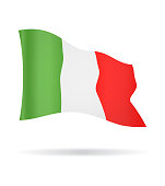 Italy - Flying Banner Flag Vector Glossy Icon