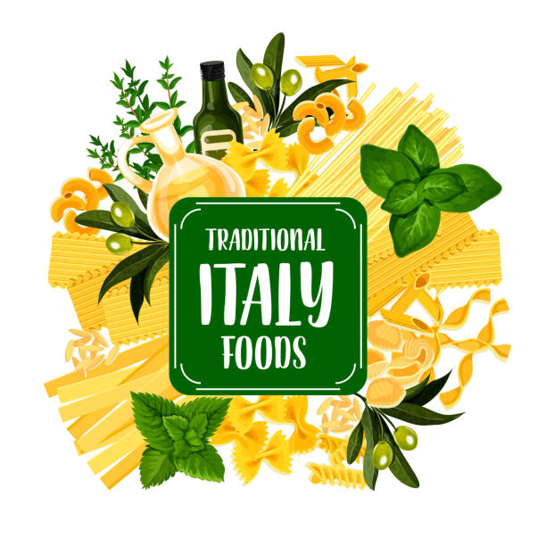Italy foods icon with pasta from Italian cuisine Italian pasta icon for Italy cuisine foods. Spaghetti and macaroni or vermicelli as pastry products. Farfalle and gnocchi, penne and chifferi, fettuccine and lasagna, alluovo and orzo vector vermicelli stock illustrations