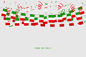 Italy garland flag with confetti on gray background, Hang bunting for Italy celebration template banner. vector