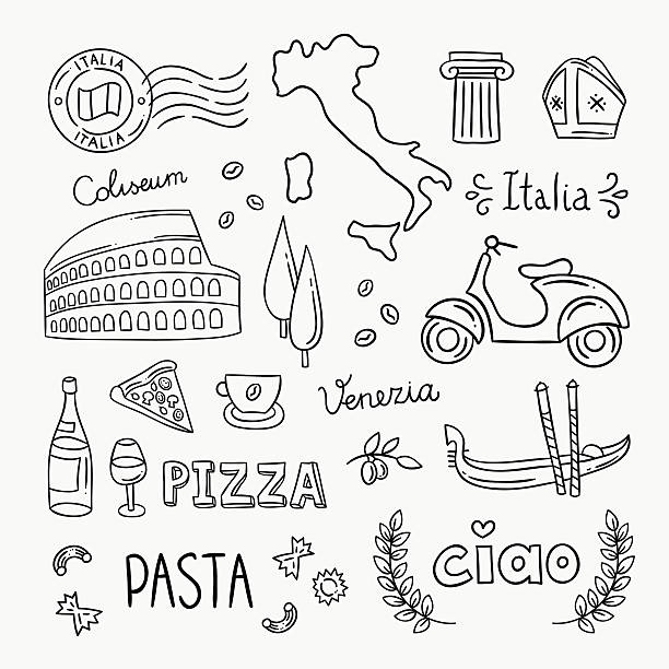 italy hand drawn icons and vector illustrations - architecture clipart stock illustrations