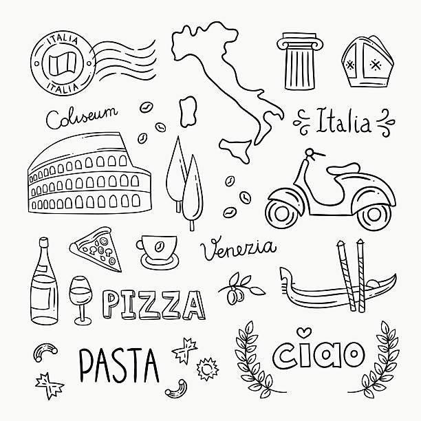 italien handgezeichnet symbole und vektor-illustrationen - italien stock-grafiken, -clipart, -cartoons und -symbole