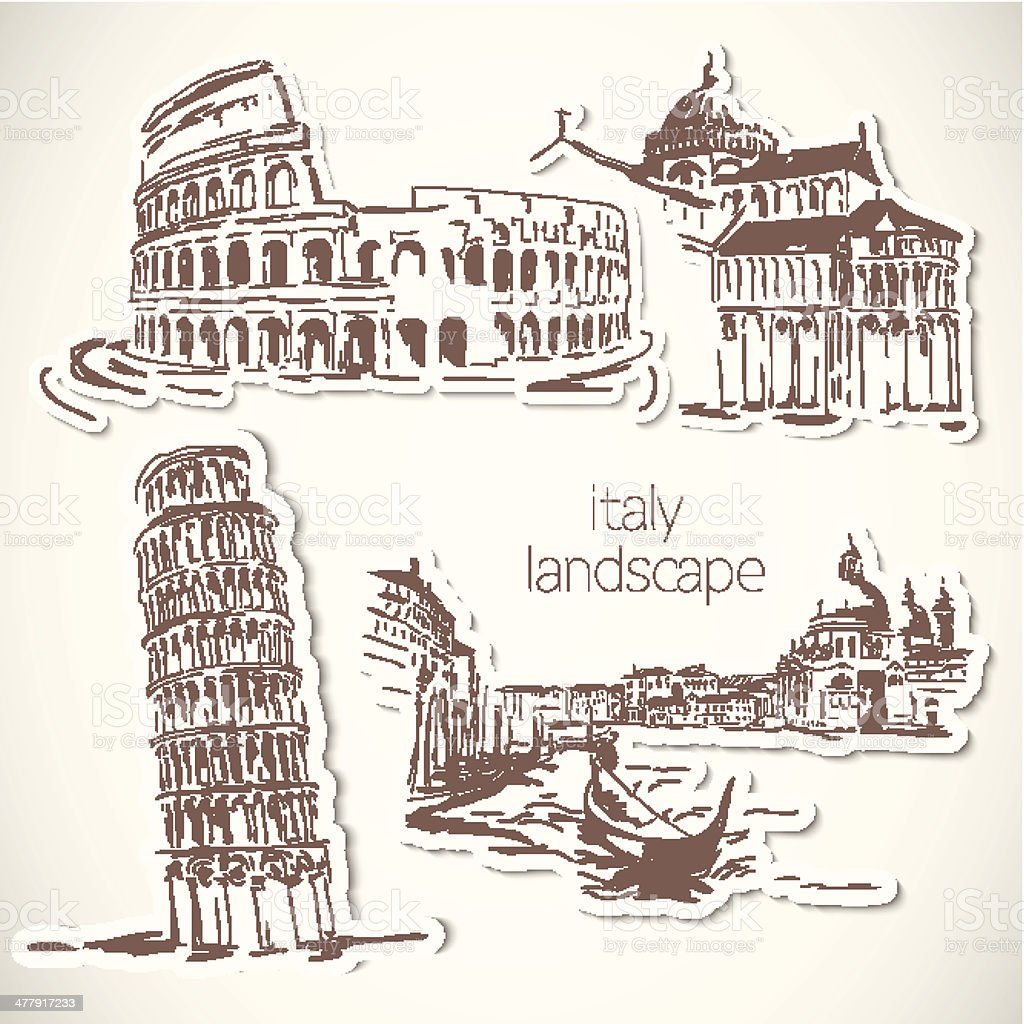Italy  hand drawn landscape in vintage style royalty-free italy hand drawn landscape in vintage style stock vector art & more images of architecture