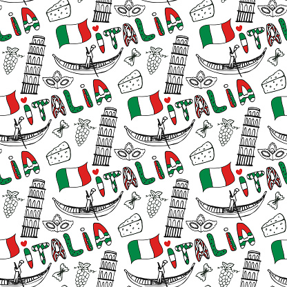Italy hand drawn seamless pattern with flag. Vector travel background. Italia lettering
