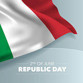 Italy happy republic day greeting card, banner, vector illustration. Italian national day 2nd of June background with elements of flag, square format