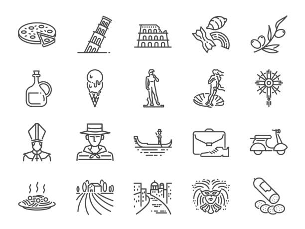 italy icon set. included icons as venice, gondola, pizza, olive oil, salami, italian food and more. - venus stock illustrations
