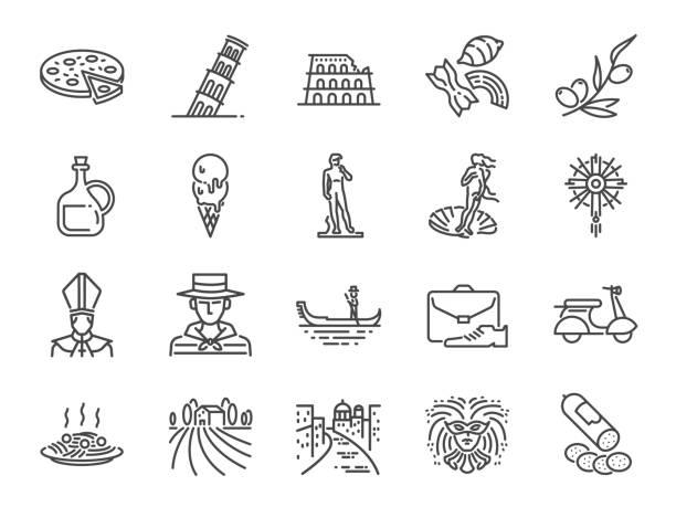 italien-icon-set. ikonen wie venedig, gondel, pizza, olivenöl, salami, italienische küche und vieles mehr enthalten. - italien stock-grafiken, -clipart, -cartoons und -symbole