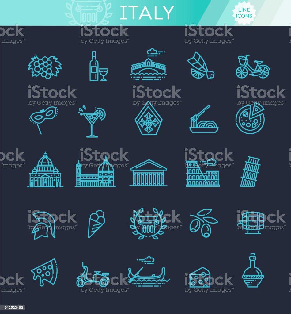 Italy icons set. Tourism and attractions, thin line design. - arte vettoriale royalty-free di Antico - Condizione