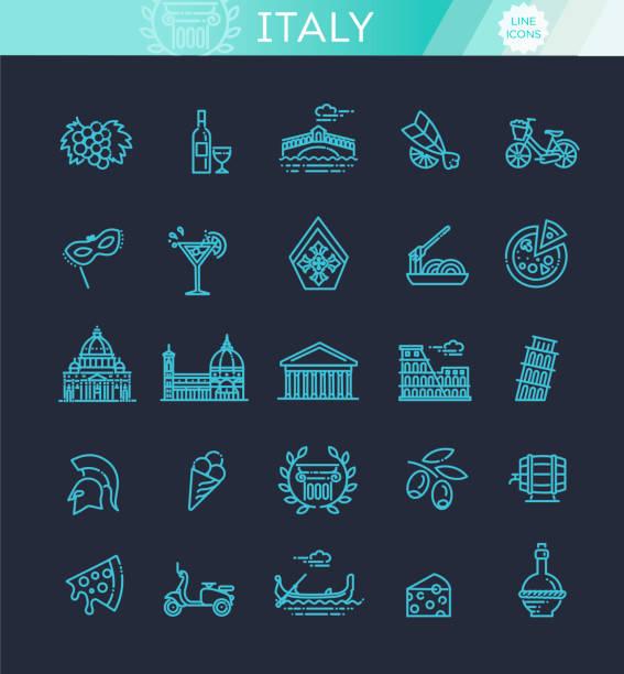 illustrazioni stock, clip art, cartoni animati e icone di tendenza di italy icons set. tourism and attractions, thin line design. - milan fiorentina