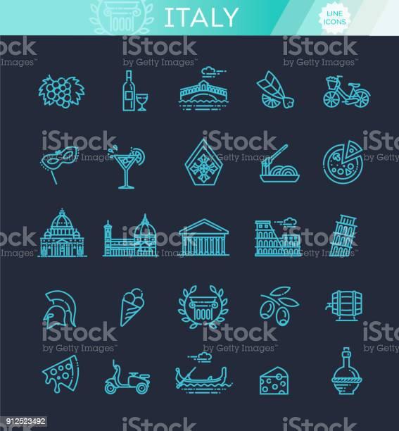 Italy Icons Set Tourism And Attractions Thin Line Design - Immagini vettoriali stock e altre immagini di Antico - Condizione