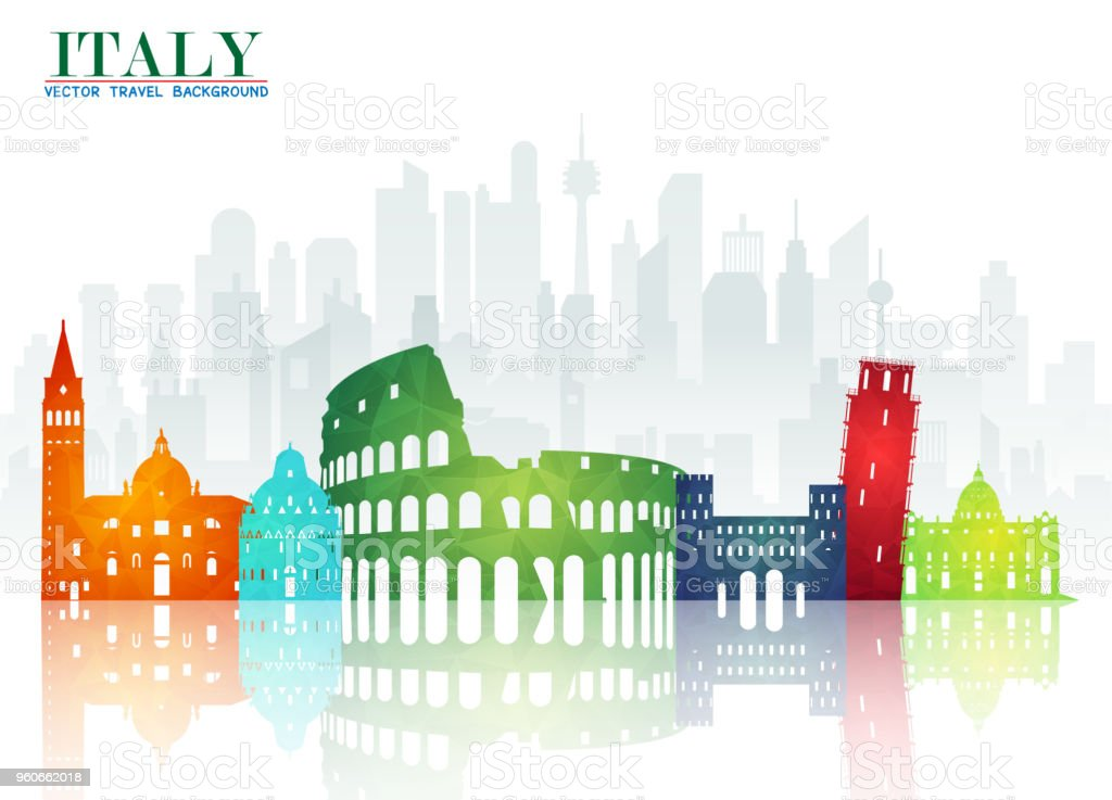 Italy Landmark Global Travel And Journey Paper Background Vector Design Templateused For Your