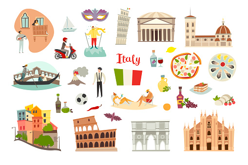 Italy landmarks vector set