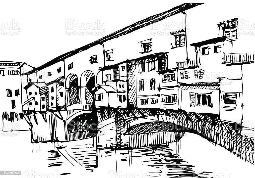 Italy landscape, Florence vector art illustration