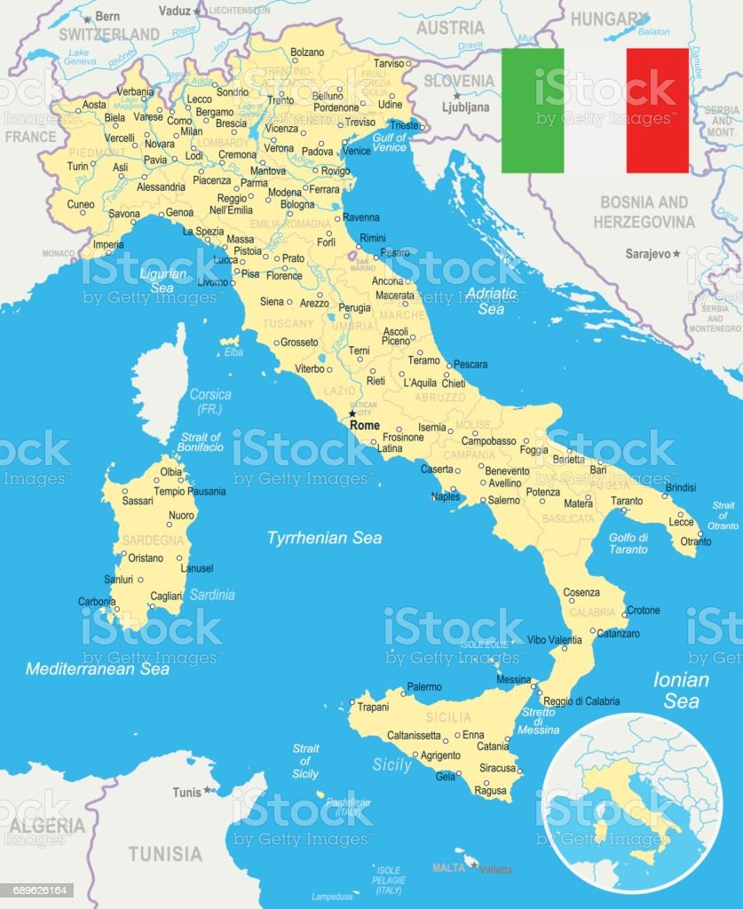 Italy Map And Flag Illustration Stock Vector Art More Images of