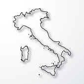 Map of Italy created with a thin black outline and a shadow, isolated on a blank background. Vector Illustration (EPS10, well layered and grouped). Easy to edit, manipulate, resize or colorize. Please do not hesitate to contact me if you have any questions, or need to customise the illustration. http://www.istockphoto.com/portfolio/bgblue