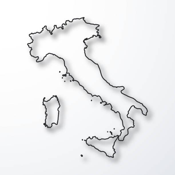 illustrazioni stock, clip art, cartoni animati e icone di tendenza di italy map - black outline with shadow on white background - cartina italia