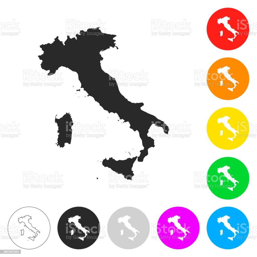 Italy map - Flat icons on different color buttons vector art illustration