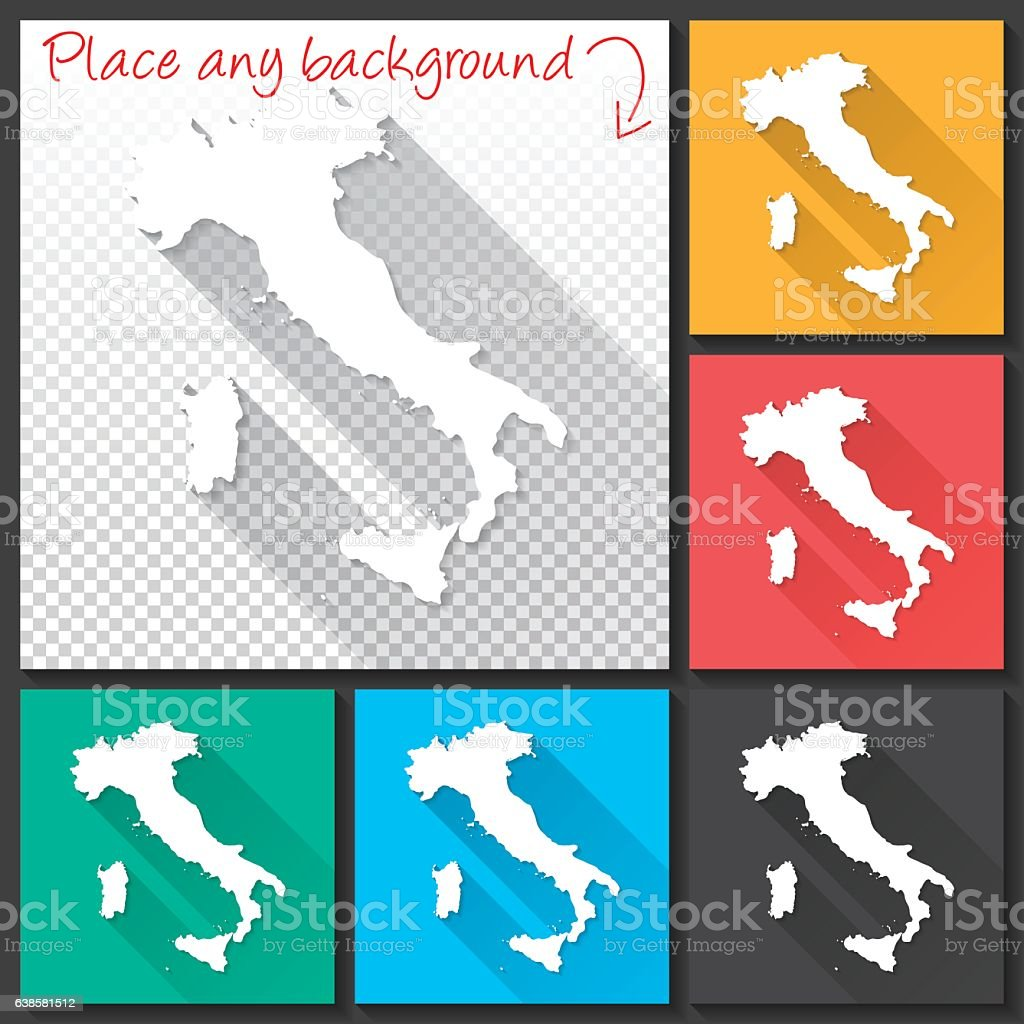 Italy Map for design, Long Shadow, Flat Design vector art illustration