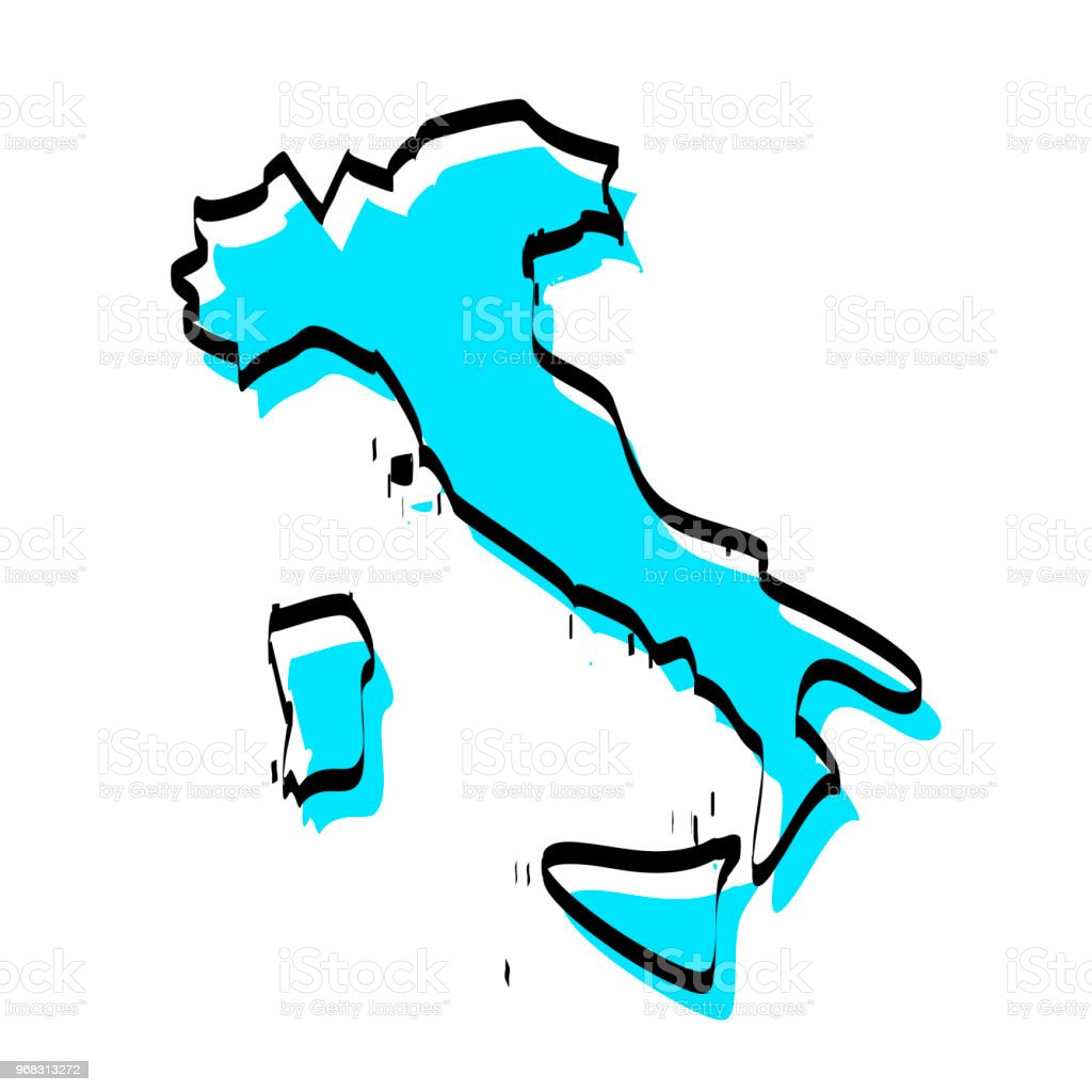 Italy map hand drawn on white background, trendy design vector art illustration