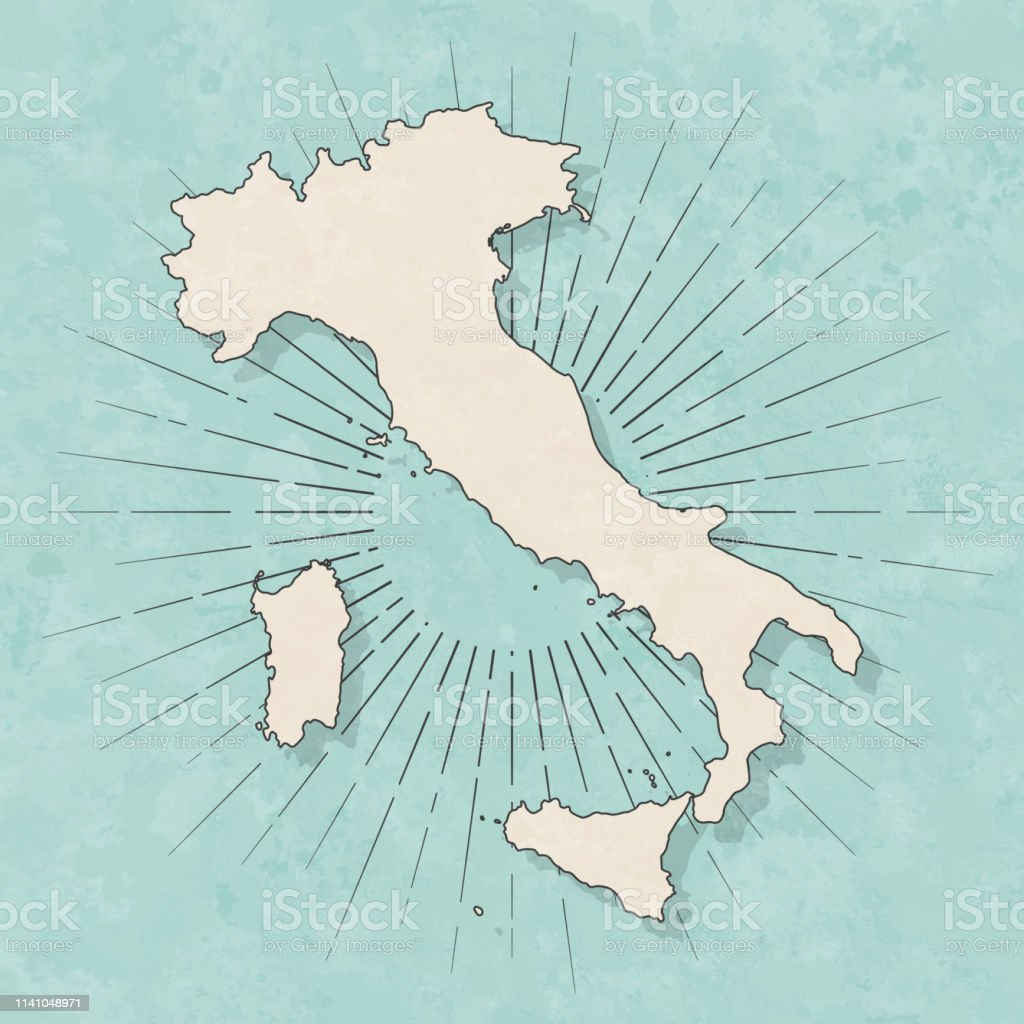 Italy map in retro vintage style - Old textured paper - Royalty-free Abstract stock vector