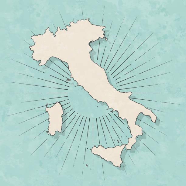 stockillustraties, clipart, cartoons en iconen met italië kaart in retro vintage style-oude textuur papier - italie