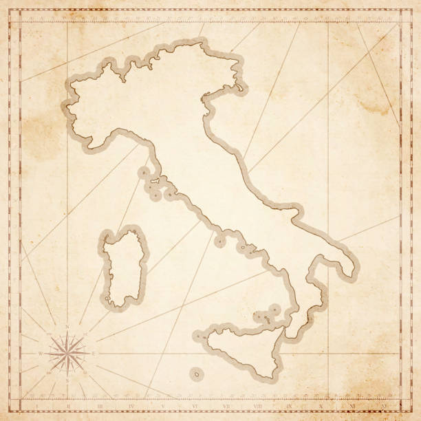 italy map in retro vintage style - old textured paper - sicily stock illustrations