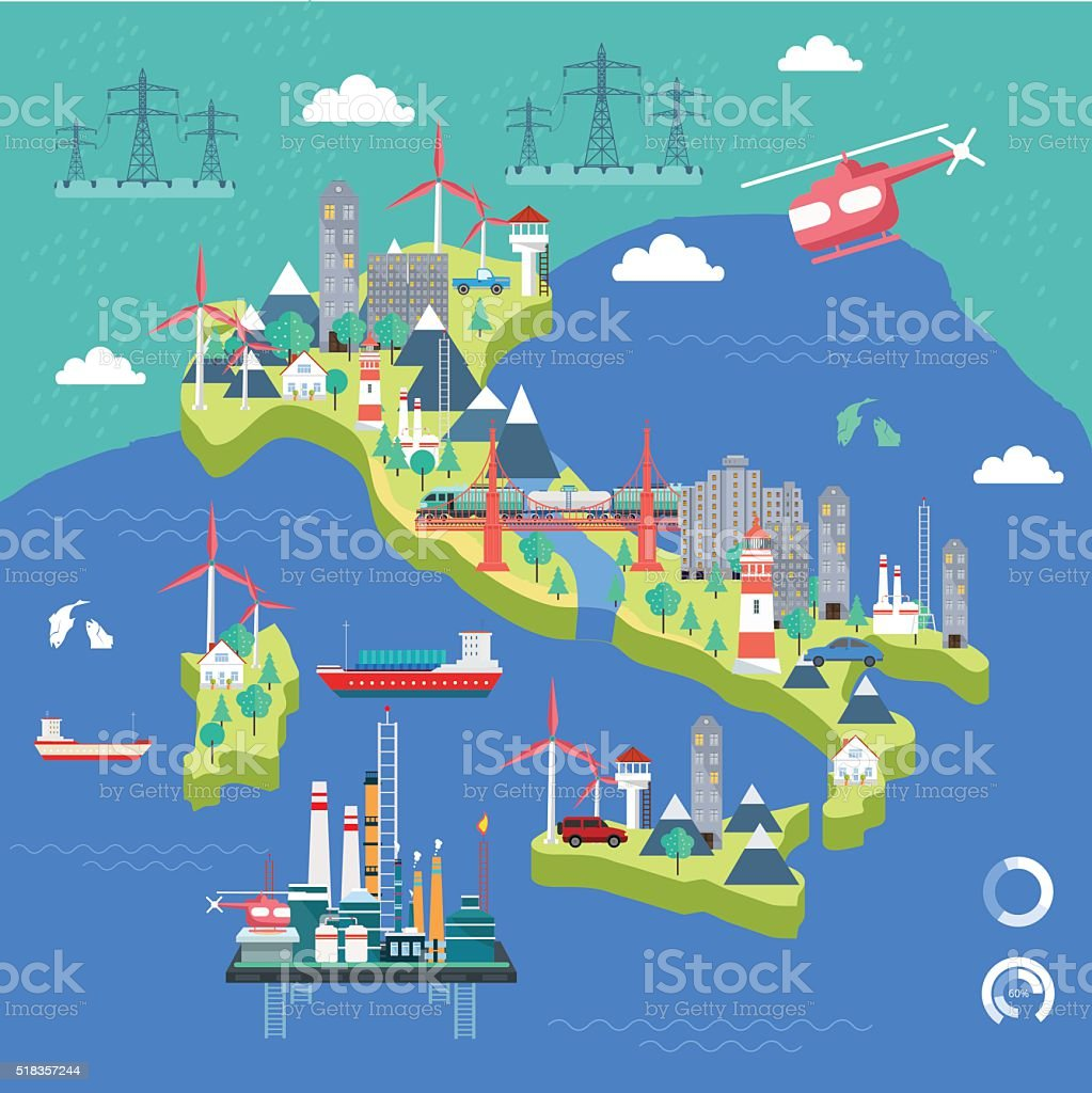 Italy Map Industrial Communication Stock Illustration - Download Image on economic map of italy, landscape map of italy, label map of italy, seismic map of italy, geographical map of italy, decorative map of italy, geological map of italy, artistic map of italy, agricultural map of italy, agriculture map of italy, road map of italy, travel map of italy, aerial map of italy, culinary map of italy, natural resource map of italy, religious map of italy, country map of italy, transportation map of italy, regional map of italy, railroad map of italy,