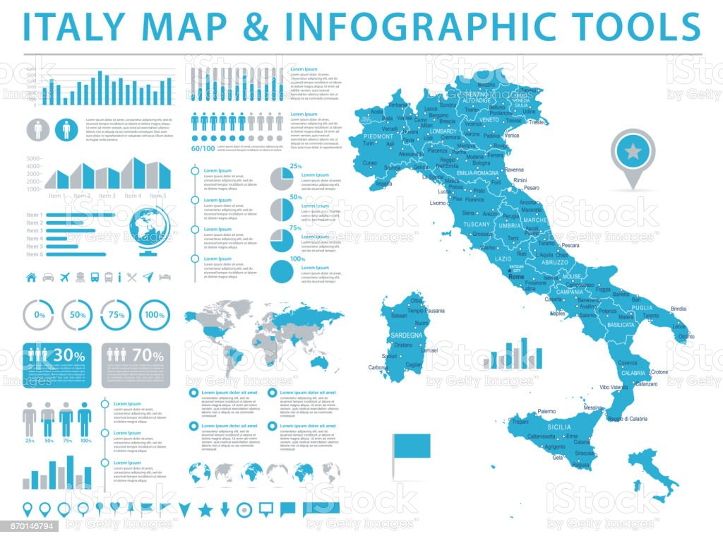 Download Map Of Italy.Italy Map Info Graphic Vector Illustration Stock