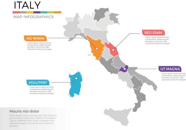 italien karte infografiken vektor vorlage mit zeiger marken und regionen - italien stock-grafiken, -clipart, -cartoons und -symbole