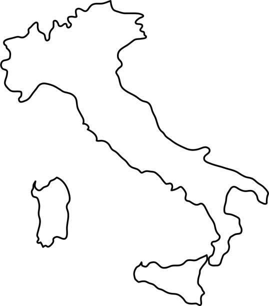 illustrazioni stock, clip art, cartoni animati e icone di tendenza di mappa italia delle curve di contorno nero dell'illustrazione vettoriale - sardegna
