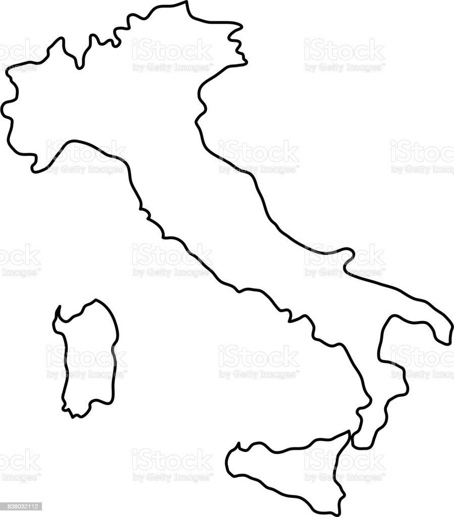 Italy map of black contour curves of vector illustration vector art illustration