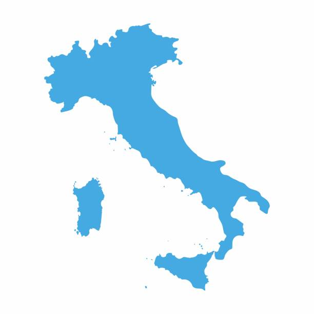 illustrazioni stock, clip art, cartoni animati e icone di tendenza di italy map on blue background, vector illustration - calabria map