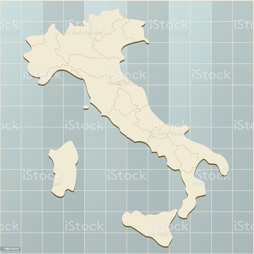 Italy map on grid royalty-free stock vector art