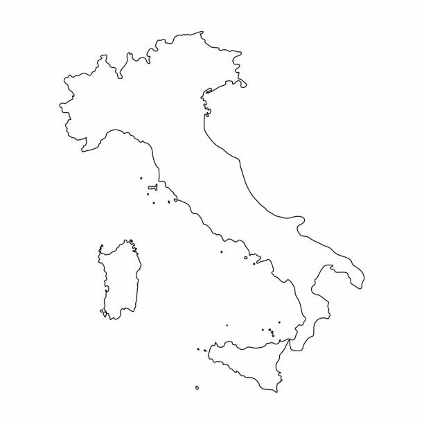 illustrazioni stock, clip art, cartoni animati e icone di tendenza di italy map outline graphic freehand drawing on white background. vector illustration - calabria map