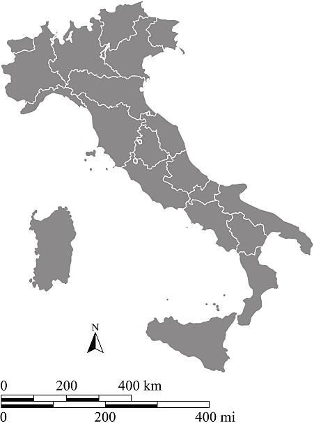 illustrazioni stock, clip art, cartoni animati e icone di tendenza di italia mappa sagoma vettoriale con scale di chilometri e chilometri - milan fiorentina