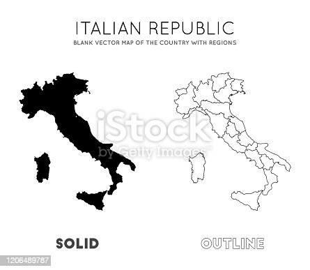 Italy map. Blank vector map of the Country with regions. Borders of Italy for your infographic. Vector illustration.