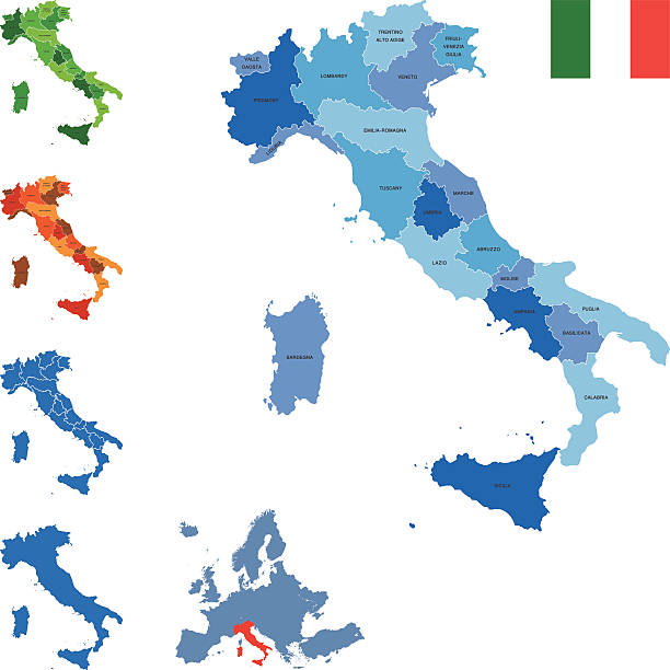 Italy map Highly detailed map of Italy for your design and products. calabria stock illustrations