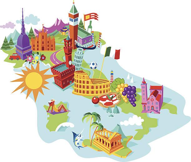 illustrazioni stock, clip art, cartoni animati e icone di tendenza di mappa di italia - capri