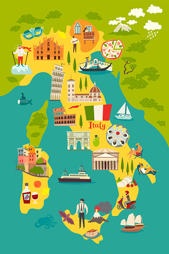 Italy map vector. Illustrated colored map of Italy