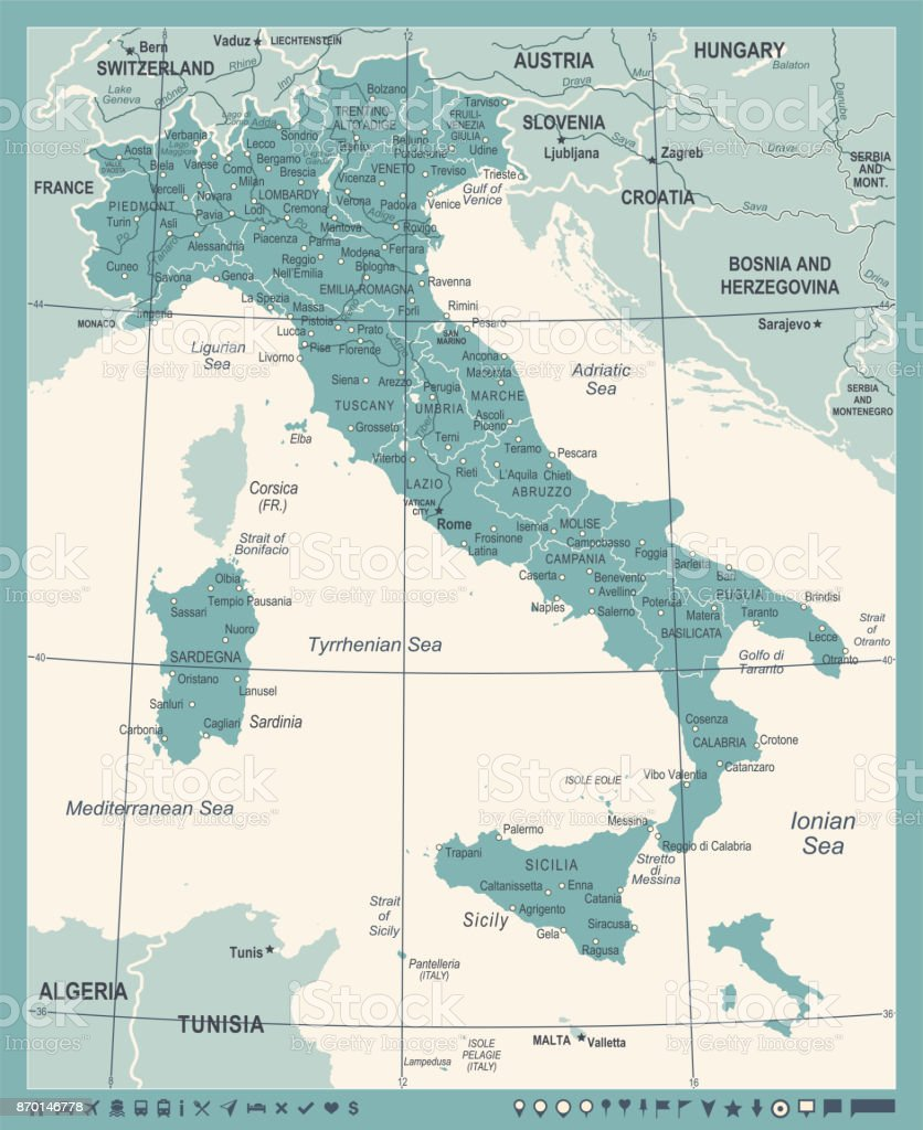 Italy Map Vintage Vector Illustration Stock Vector Art More Images
